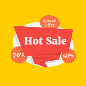hot sale color label like special offer. cartoon flat trend modern bright graphic design illustration isolated on yellow background. concept of 50 or 70 percentage cost of down or paper lightning