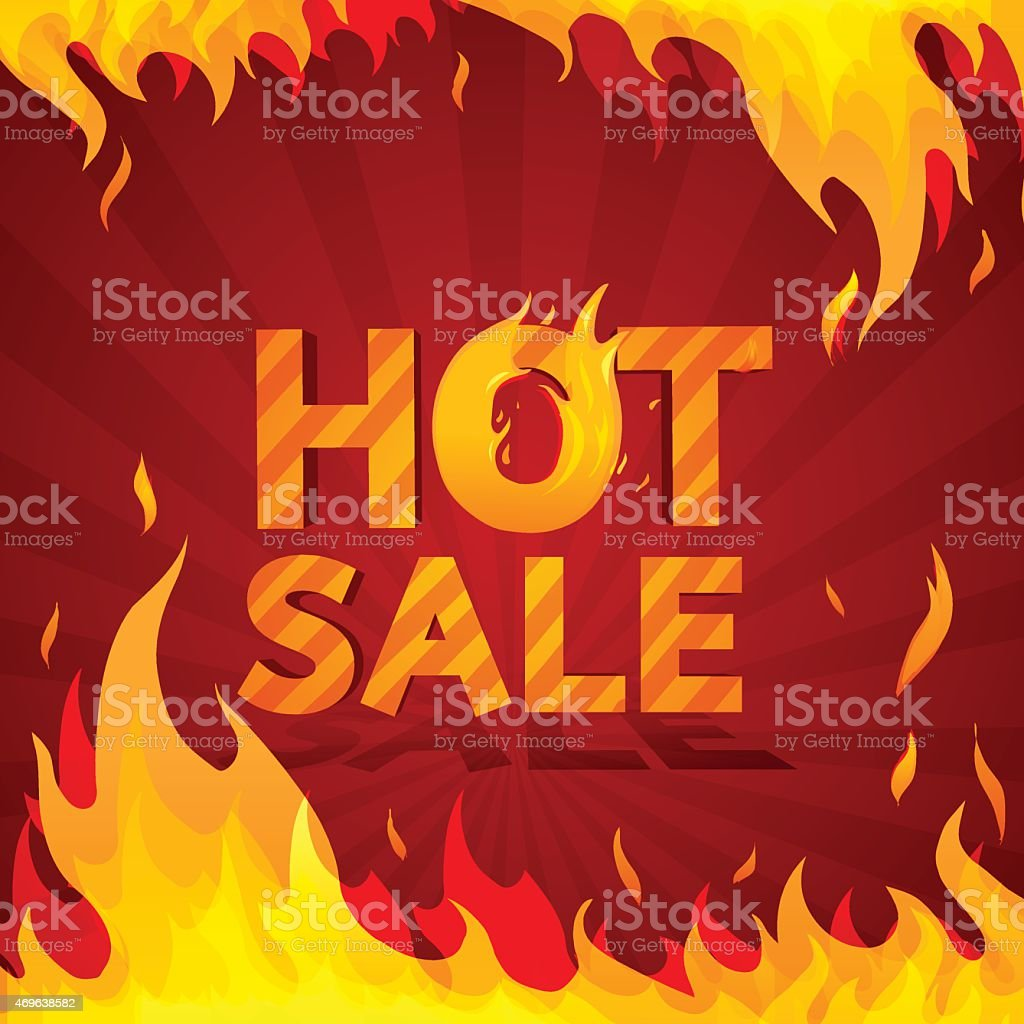 Hot sale design template. Frame of fire. vector art illustration