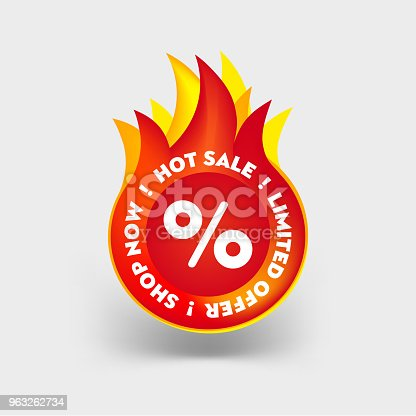 Hot Sale label. Limited Special Offer Icon. Mega Summer Sale Promotion Sticker. Discount Hot Price Fire Red Tag. Vector illustration Special Promotion Badge.