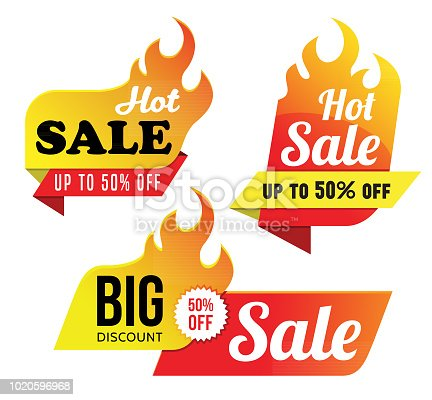Vector illustration of the hot sale tags.