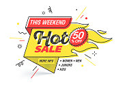 Hot sale, weekend special offer banner template in flat trendy new geometric style, retro 80s - 90s paper style poster, placard, web banner designs, vector illustration