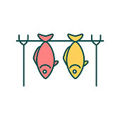 istock Hot smoked fish RGB color icon 1297772287