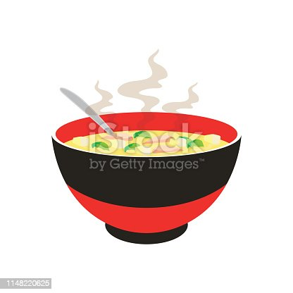 hot yellow and white noodle soup in chinese bowl and chopstick on white background. vector illustration
