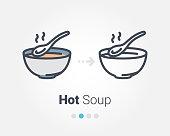hot soup vector icon