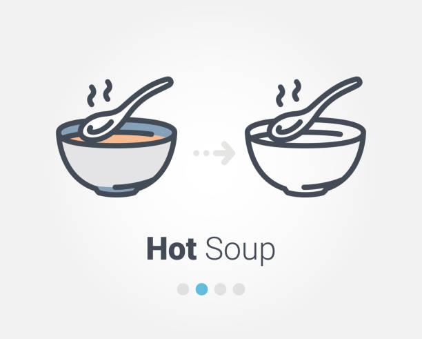 ilustrações de stock, clip art, desenhos animados e ícones de hot soup vector icon - tigela