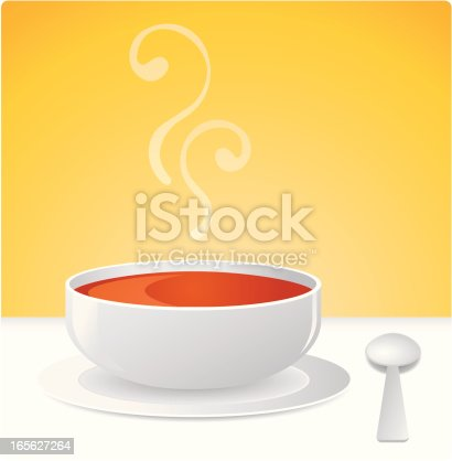 Hot soup and spoon illustration with rich aroma. AI8, AI8 eps, large jpg, and pdf included in bundle.
