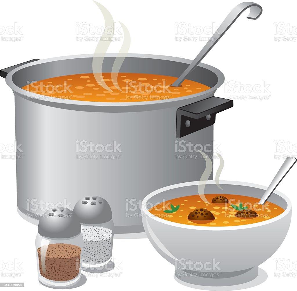 hot soup vector art illustration