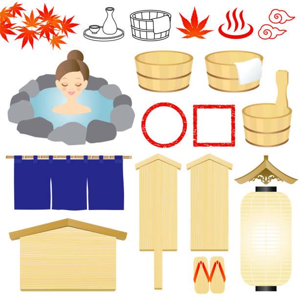 bildbanksillustrationer, clip art samt tecknat material och ikoner med varma våren illustrationer. - japanese bath woman