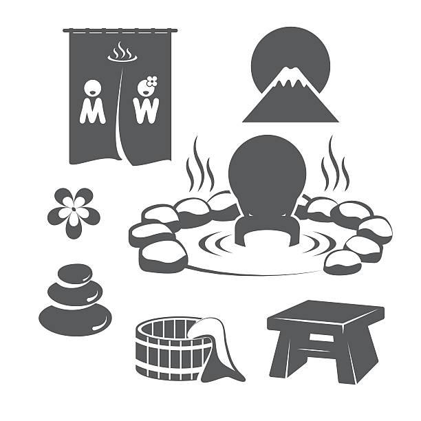 bildbanksillustrationer, clip art samt tecknat material och ikoner med hot springs set - japanese bath woman