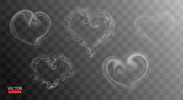 hot steam over cup on dark or transparent background. white cigarette smoke wave. set of heart fume on water, tea, food, coffee, ice. vapor, mist, gas, fog vector illustration. hazy fragrance on ice - smoke stock illustrations