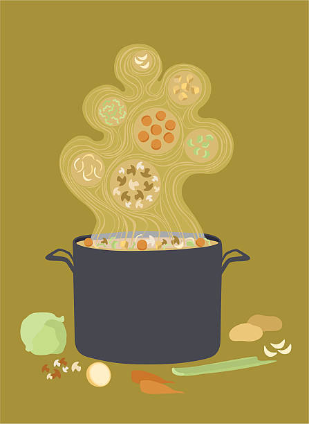 stockillustraties, clipart, cartoons en iconen met hot steaming pot of vegetable soup - groentesoep