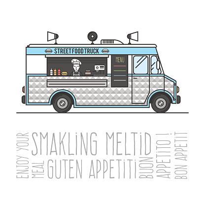 Hot street food mobile truck
