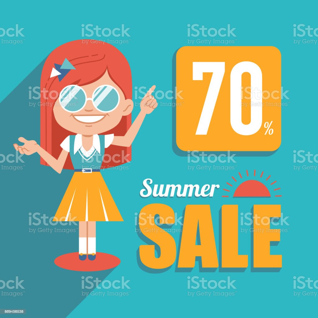Hot summer sale banner. Advertising shopping illustration with girl in sunglasses. Big summer sale. Discount 70. vector art illustration