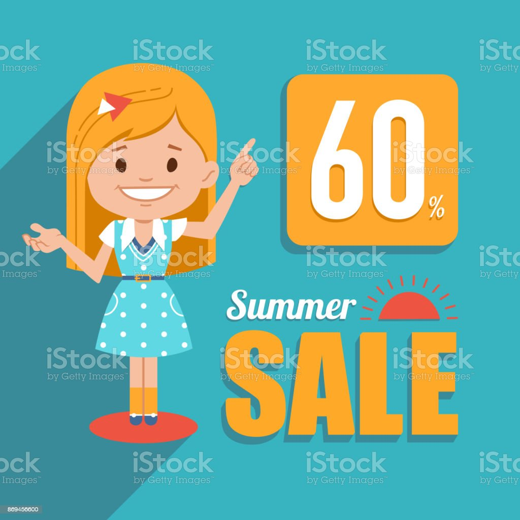 Hot summer sale banner. Shopping illustration with pretty girl character. Seasonal sale. Discount 60. Big summer sale. vector art illustration