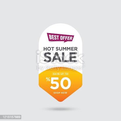 istock Hot Summer Sale banner stock illustration 1215157669