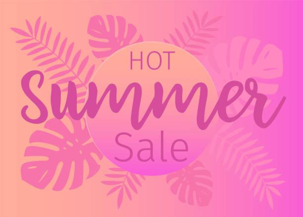 Heißer Sommer Verkauf Banner mit tropischen Blättern – Vektorgrafik
