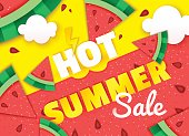 Hot summer sale banner with watermelon slices on yellow background