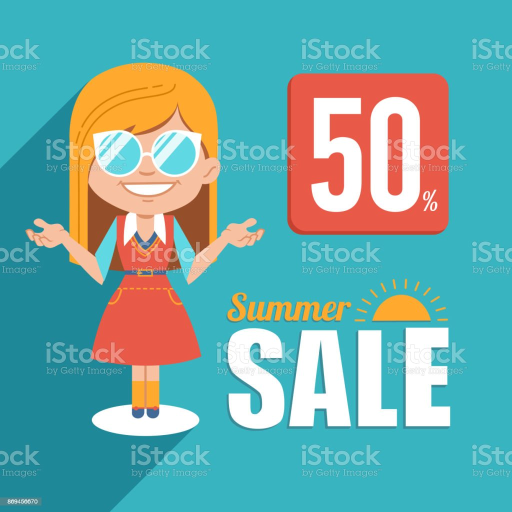Hot summer sale banner.Advertising illustration with blonde girl in sunglasses.Big summer sale.Discount 50.Seasonal sale vector art illustration