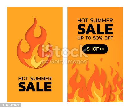 Hot summer sale concept. Vertical templates for banners, posters, flyers. Vector illustration in paper cut style.