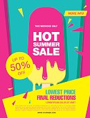 Hot summer sale. Melting ice cream