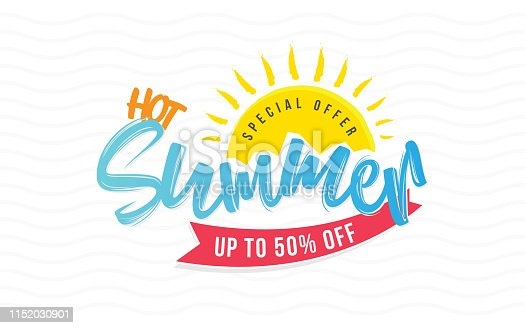 Creative Hot Summer Sale Poster Design Background Template with 50% Discount Tag