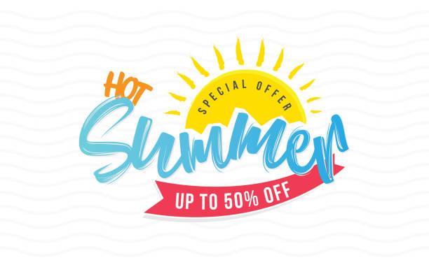 ilustraciones, imágenes clip art, dibujos animados e iconos de stock de caliente verano venta cartel diseño fondo plantilla - verano