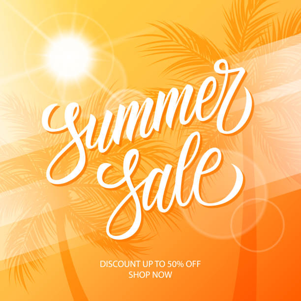 Hot Summer Sale promotional banner. Summertime seasonal special offer background with hand lettering and palm trees for business, seasonal shopping, promotion and advertising. vector art illustration