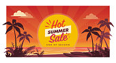 Promotional hot summer sale banner with tropical beach at sunset, seasonal shopping concept