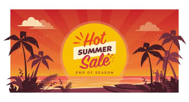bildbanksillustrationer, clip art samt tecknat material och ikoner med hot sommar försäljning reklam banner med tropisk strand - sommar