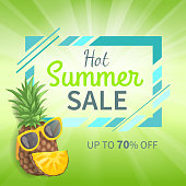 Hot summer sale up to 70 percent off promo poster on green background, pineapple in sunglasses. Vector advertisement leaflet info about discounts