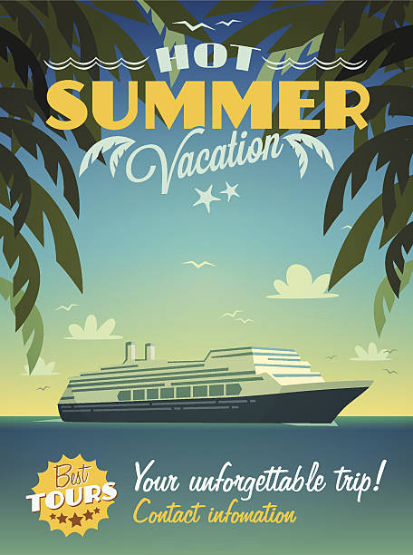 Hot summer vacation poster Eps10 vector illustration. Contains transparency. cruise vacation stock illustrations