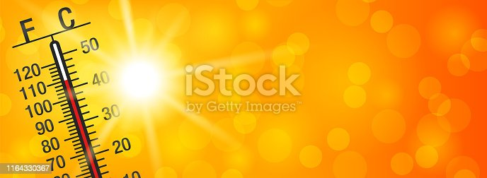 Summer sun with a thermometer on a yellow and orange bokeh background