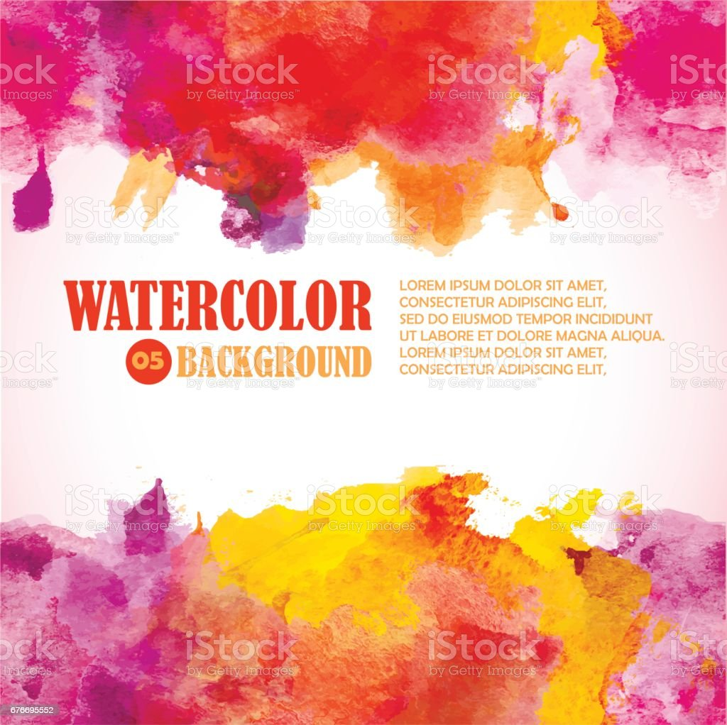 Hot Summer Watercolor Background with place for text. Warm colors  red, orange, yellow, purple. vector art illustration