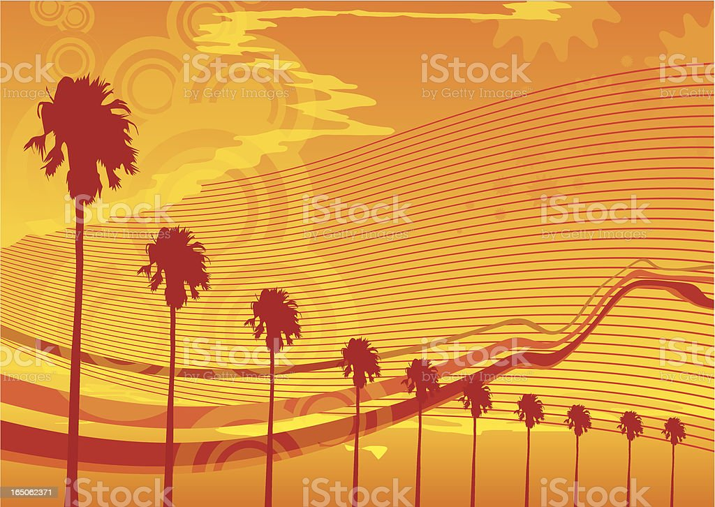 Hot summer waves and palms vector art illustration