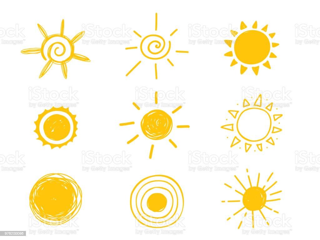 Ícone de sol quente. Amarelo doodle ilustração isolado no fundo branco - Vetor de Abstrato royalty-free