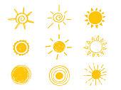 Hot sun icon. Yellow doodle illustration isolated on white background.