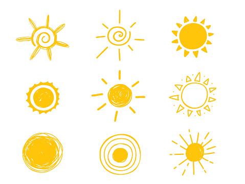 Hot sun icon. Yellow doodle illustration isolated on white background