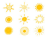 Hot sun icon. Yellow doodle illustration isolated on white background