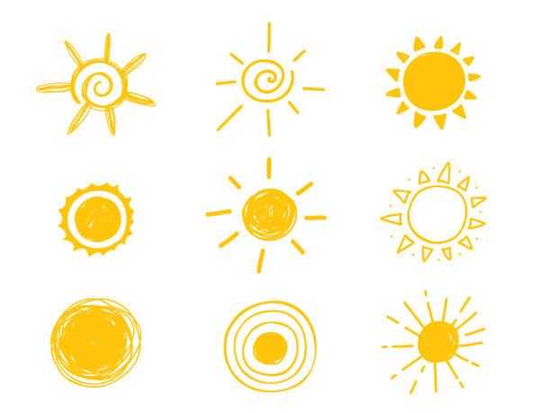 bildbanksillustrationer, clip art samt tecknat material och ikoner med heta solen ikonen. gula doodle illustration isolerade på vit bakgrund - sun