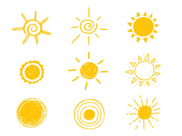 illustrazioni stock, clip art, cartoni animati e icone di tendenza di hot sun icon. yellow doodle illustration isolated on white background - mattina