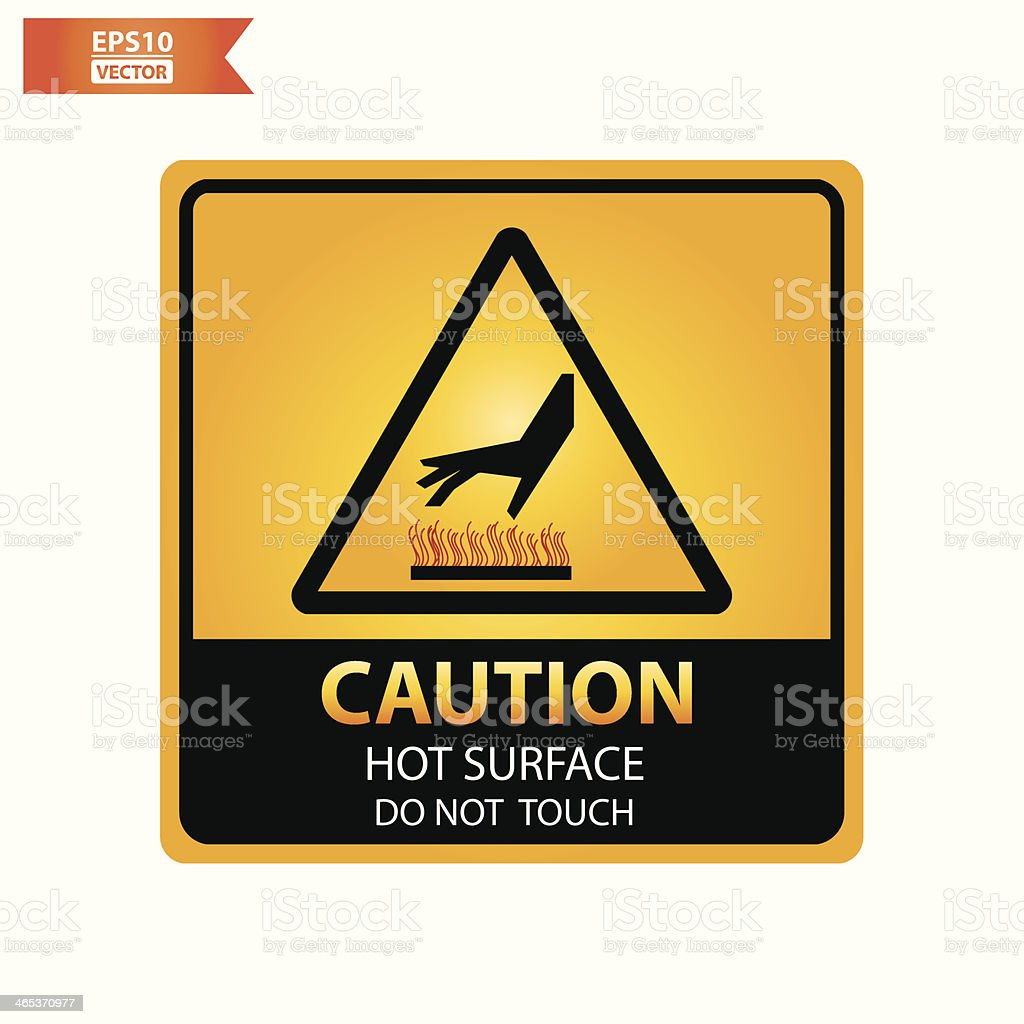 Hot surface do not touch text and sign. vector art illustration