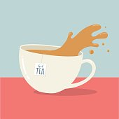 Vector illustration of a cup of hot tea