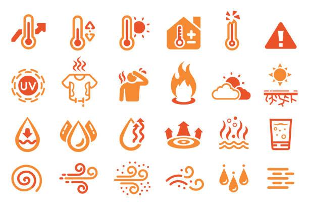 bildbanksillustrationer, clip art samt tecknat material och ikoner med ikon för varm temperatur reaktion. värme väder elementet. - feber