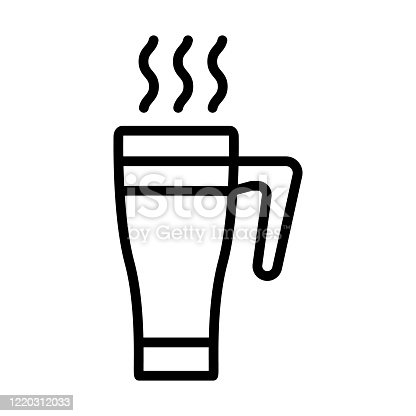istock hot thermal cup narrowed to bottom icon vector outline illustration 1220312033