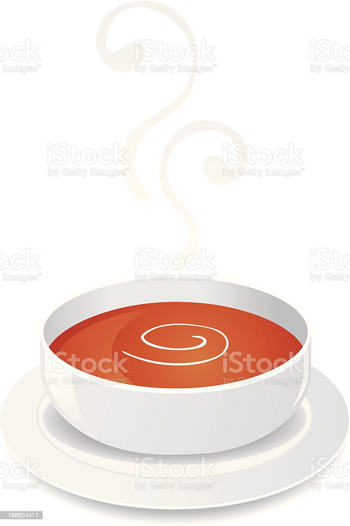 Hot Tomato Soup with Cream royalty-free stock vector art