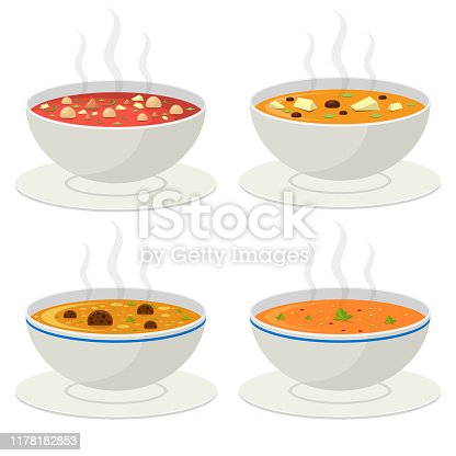 Beautiful vector design illustration of hot vegetable soup isolated on white background