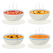 istock Hot vegetable soup vector design illustration isolated on white background 1178182853