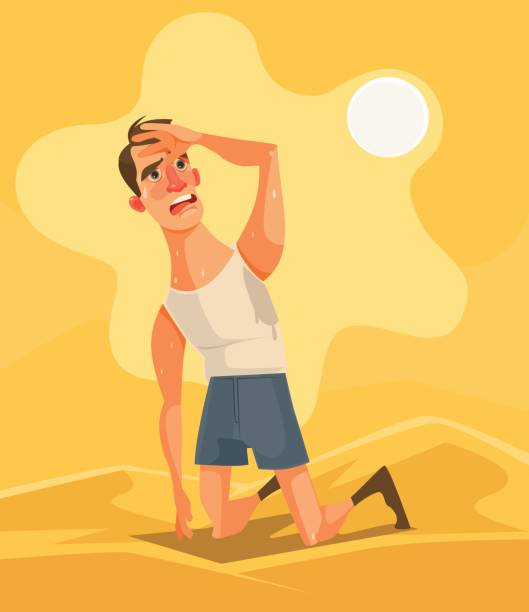 illustrazioni stock, clip art, cartoni animati e icone di tendenza di hot weather and summer day. tired unhappy man character in desert - uomo stanco