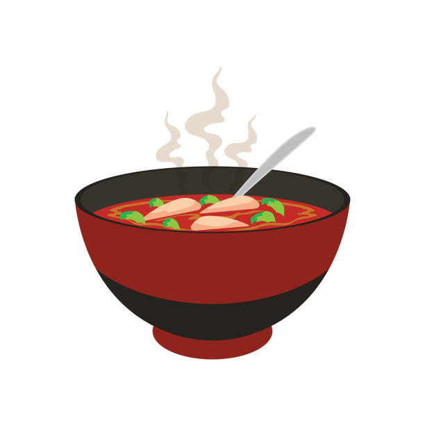 stockillustraties, clipart, cartoons en iconen met hete gele en witte noedel soep in chinese kom en chopstick op witte achtergrond. vector illustratie - groentesoep