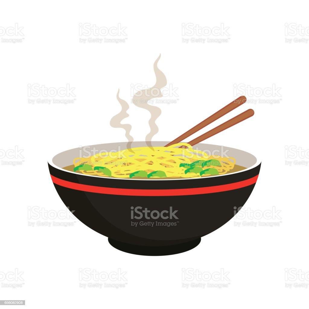 sopa de macarrão de amarelo e branco quente na tigela chinesa e pauzinho - ilustração de arte em vetor
